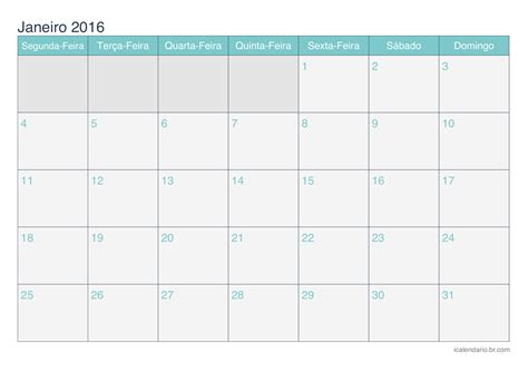 calendario para imprimir 2016 mes por mes calend 225 rio janeiro 2016 para imprimir icalend 225 rio br com