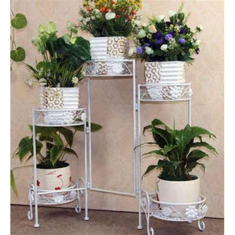 metal planter stand 5 tier mediterranean metal planter stand white buy pots