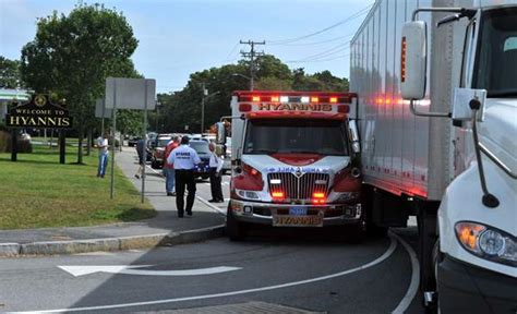 tractor trailer crashes into hyannis ambulance news - Cape Cod Ambulance