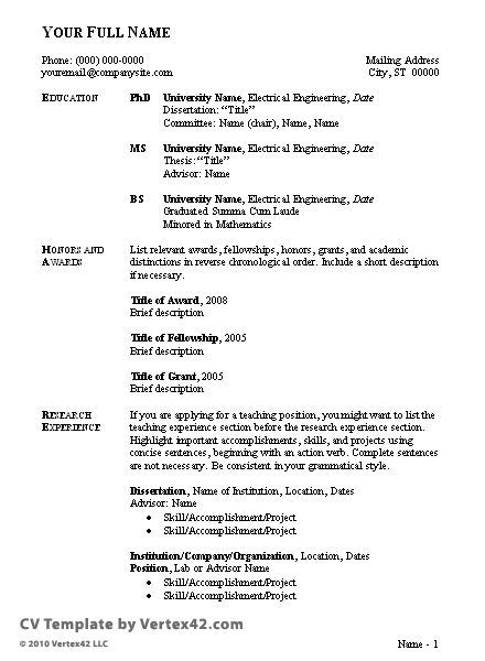 Sle Curriculum Vitae Format For Students Http Www Resumecareer Info Sle Curriculum Curriculum Vitae Template Student