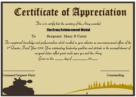 army certificate of appreciation template 20 professional army certificate of appreciation