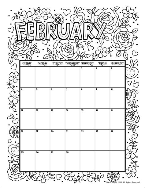 2018 coloring calendar monthly planner books february 2018 coloring calendar page woo jr