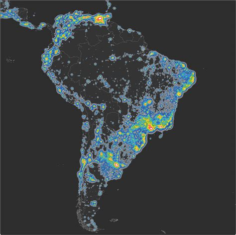 Light Polution Map by Detailed Map Of Light Pollution Around The World