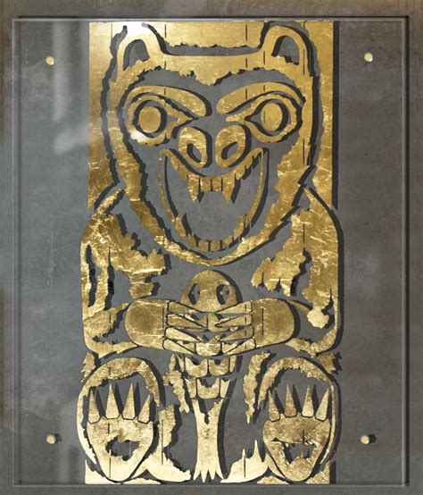Pole Home Designs Gold Coast totem pole bear in gold on glass sally morgan designs