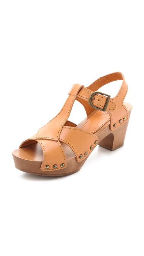 clog sandals for a p c slingback clog sandals in brown beige lyst