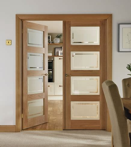 4 panel oak shaker glazed door internal hardwood doors