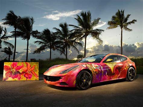 ferrari painting artist turns ferrari ff into a painting on wheels