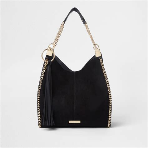 Black Shoulder Bag black chain trim slouch tote bag shoulder bags bags