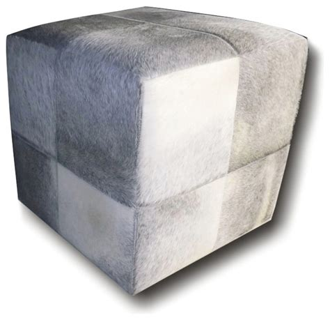 grey ottoman black hair on hide leather ottoman light grey hair