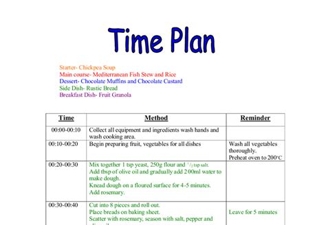 Home Economics Food Design And Technology Home Economics Time Plan For A 3 Course Meal Gcse