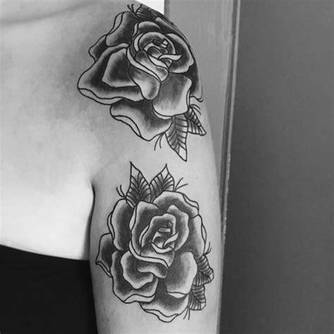 black and white rose tattoos on shoulder top 40 on shoulder for
