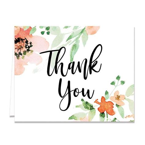 watercolor thank you card template quot quot floral watercolor thank you card digibuddha