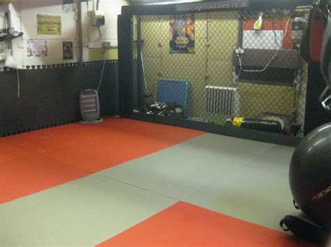 garage setup with mma cage home weight room