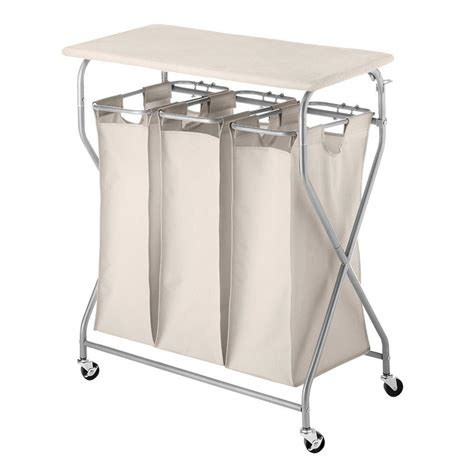 Laundry Sorter With Folding Table Whitmor Easy Lift Laundry Sorter With Folding Table 6640 4982 The Home Depot