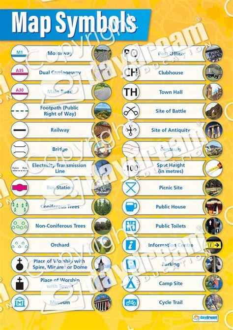 map symbols map symbols geography educational school posters