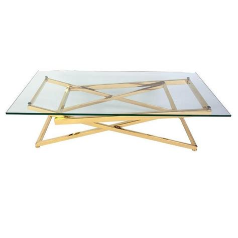 Glass Steel Coffee Table Gold Plated Stainless Steel Glass Coffee Table