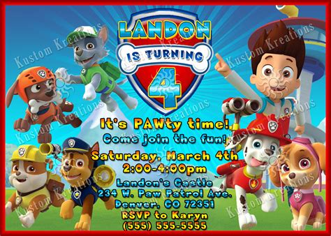 how to your to paw paw patrol birthday invites alanarasbach