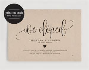 Elopement Announcements We Eloped Wedding Announcement Elopement Announcement