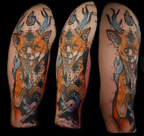 geometric tattoo neo tribal full sleeve geometric fox tattoo on left half sleeve by koit tattoo