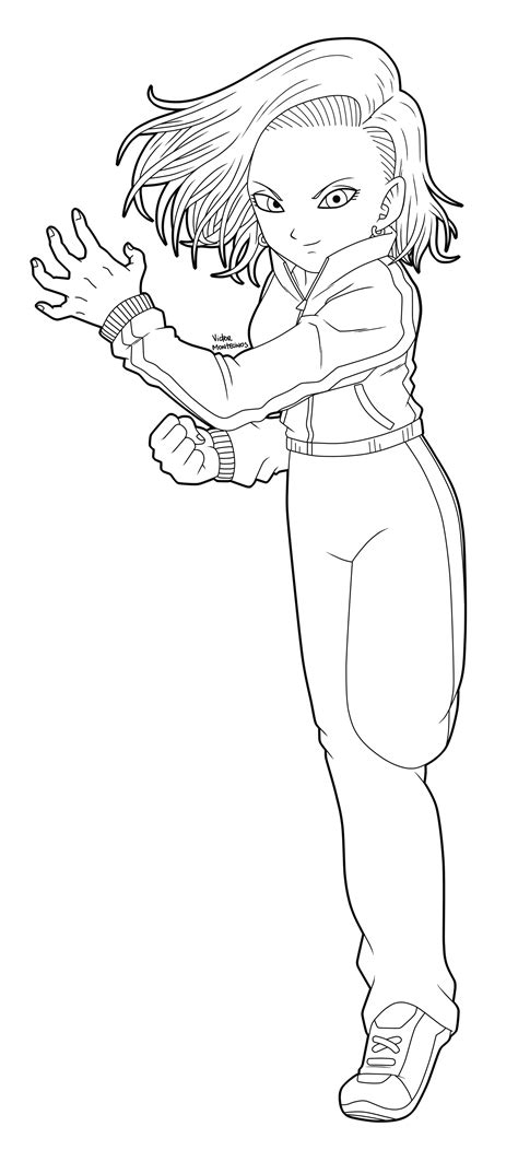 doodle draw android android 18 lineart by victormontecinos