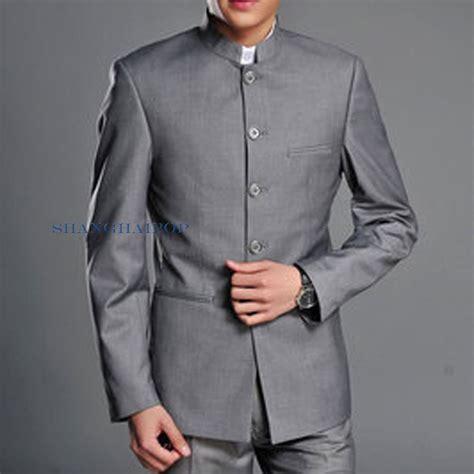 Tunik Jacket By Mlb 1 single breasted suit mao style tunic jacket blazer slim gray white ebay