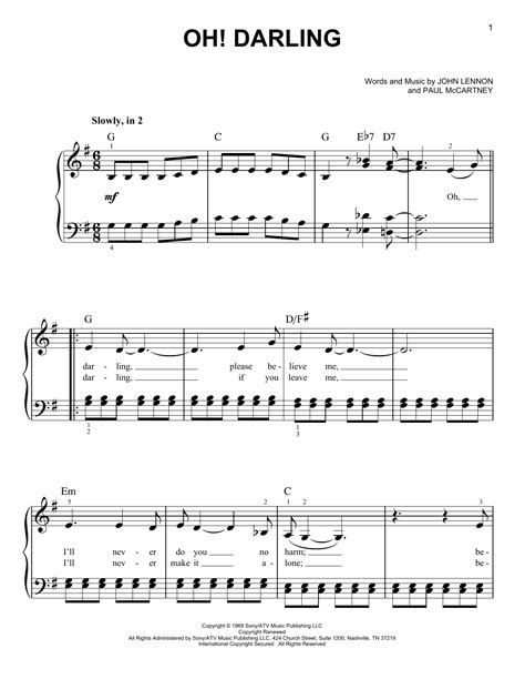 tutorial piano oh darling oh darling sheet music by the beatles easy piano 77123