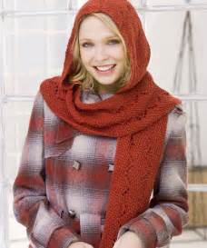 Comfy hooded scarf knitting pattern red heart