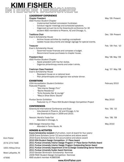 Interior Design Resume Sles Pdf Kimi Fisher S Resume