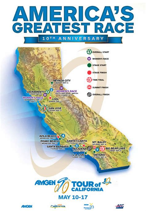 tour of california map nevada city to host 2nd stage of amgen tour of california