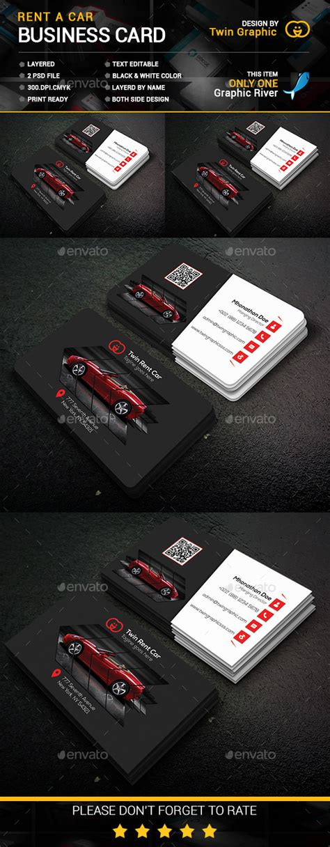 rent a car business card template rent car business card design by twingraphic graphicriver