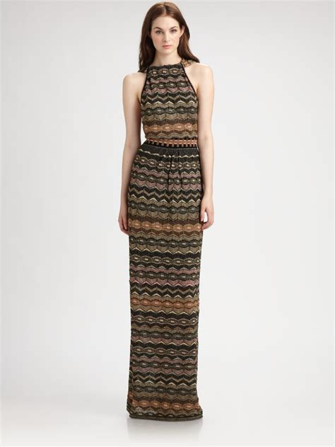 m missoni halter maxi dress in brown lyst