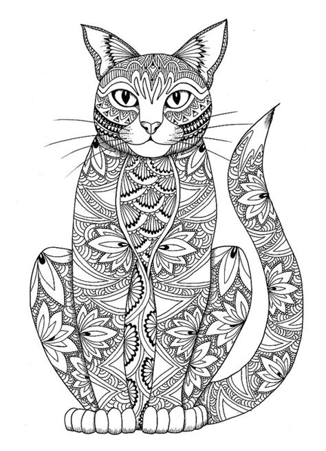 cat zentangle coloring page cat coloring page by miedzykreskami on etsy adult