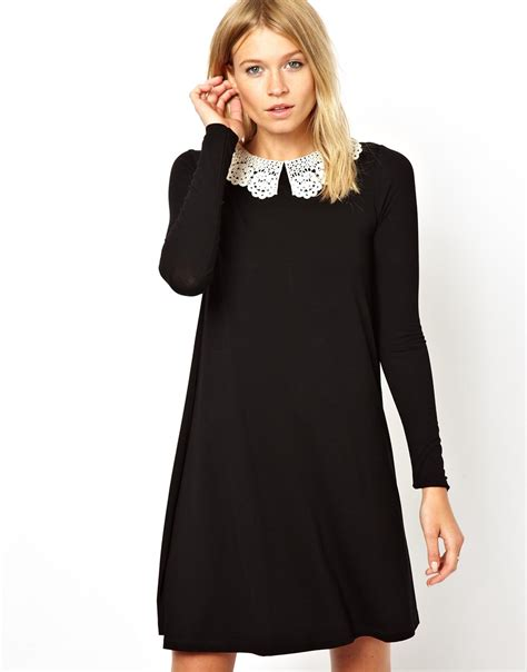 asos black swing dress asos swing dress with crochet collar and long sleeves in