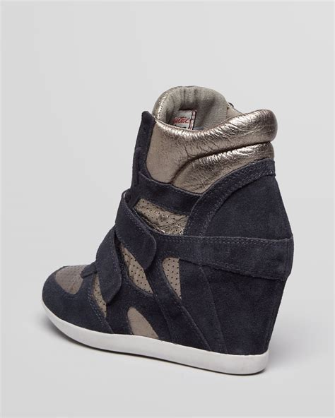 high top wedge sneakers ash high top wedge sneakers bea in metallic lyst
