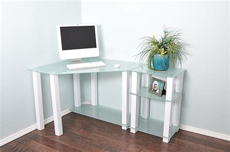Glass Corner Desks by Modern White Glass Corner Desk With 20 Quot Extension Computerdesk