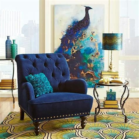 Peacock Decorating Ideas For Living Room Brown Tortoise Glass L Polyester Decor Lighting