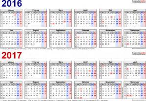 Excel Kalender 2016 Bis 2018 Zweijahreskalender 2016 2017 Als Excel Vorlagen Zum