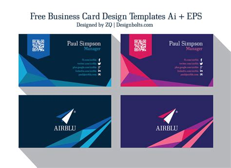 visiting card template ai 2 free professional premium business card design templates