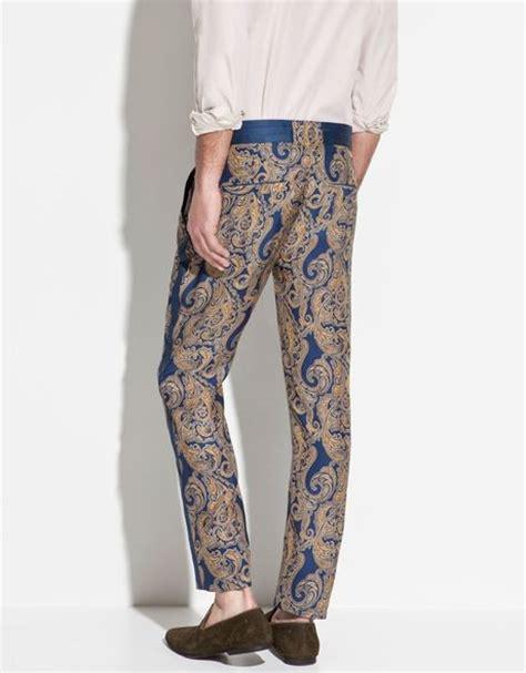 zara printed silk trousers in zara printed silk trousers in blue for lyst