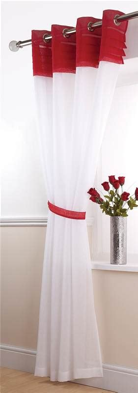 white and red curtains siena linen pin tuck voile eyelet panel white red cream
