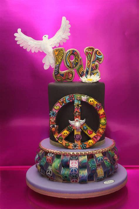 retro birthday cake word love  peace symbol