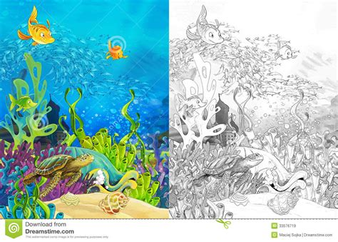 The Ocean And The Mermaids Coloring Page Royalty Free