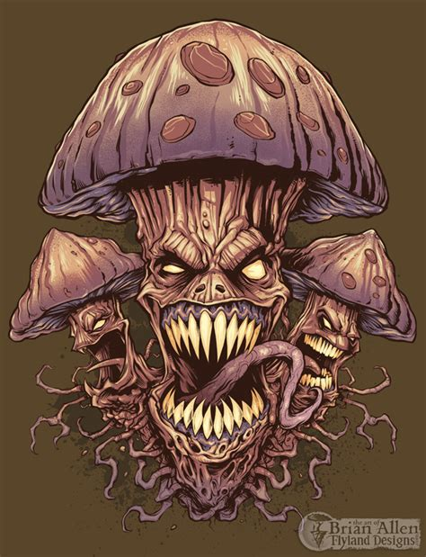 evil mushroom t shirt illustration flyland designs