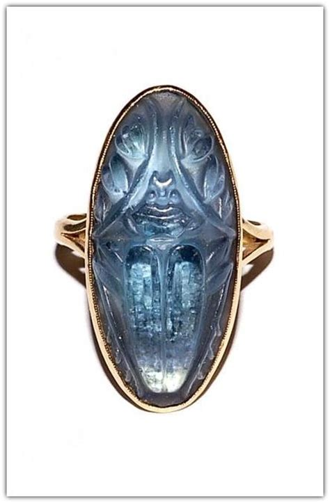 ren 201 lalique gold molded glass scarab ring n d