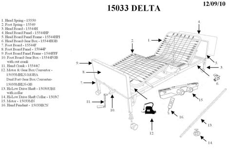 parts of the bed drive medical delta ultra light 1000 full electric