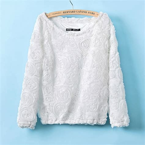 Sale Back Flower Lace Sweater Only White Sale 2013fashion 3d Lace Flower Chiffon Shirt Top