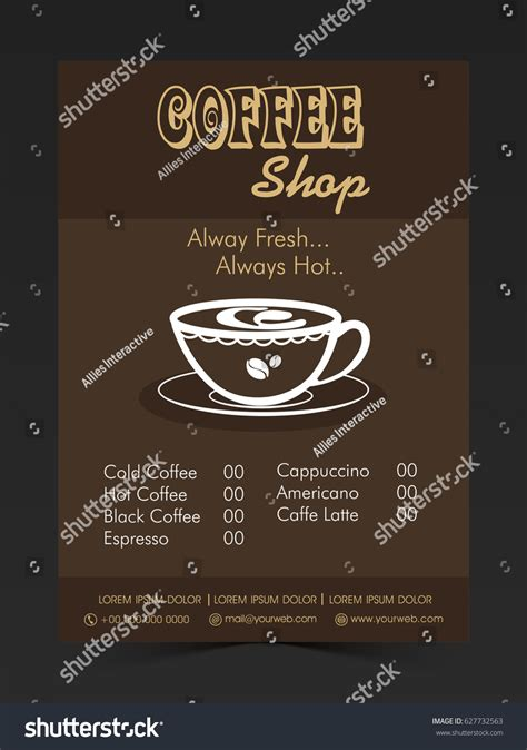 price card menu template coffee shop price card menu card stock vector 627732563