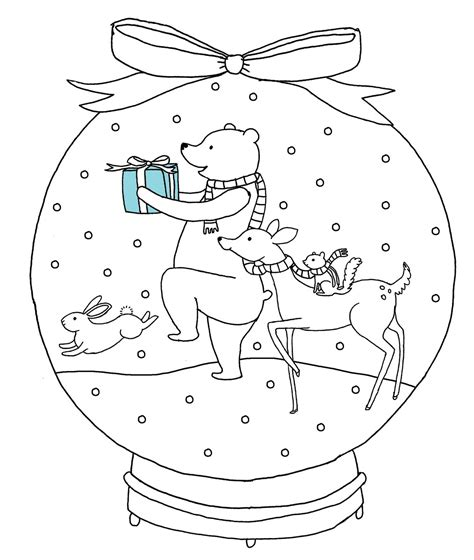 free christmas snow globe coloring pages