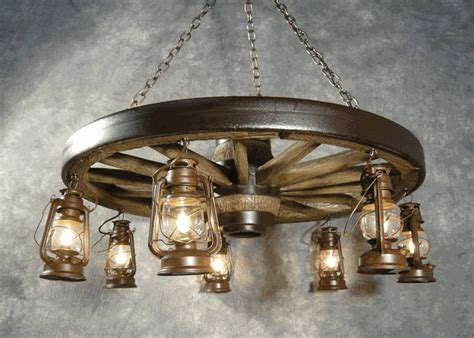 How To Make A Wagon Wheel Chandelier Large Wagon Wheel Chandelier With Rustic Lanterns