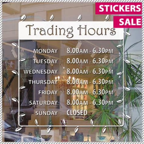 trading hours shop front business sign vinyl decal